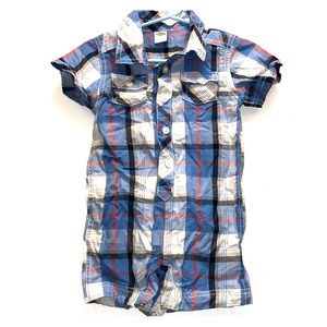 Old Navy Baby Boy Plaid Button Front Romper